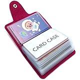 Porta Carte di Credito Pelle Donne Uomo - 24 Slot (Rose Red)