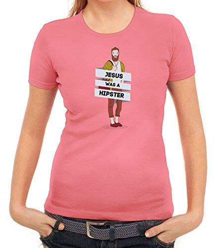 Damen T-Shirt mit Jesus Was A Hipster Motiv von ShirtStreet Rosa