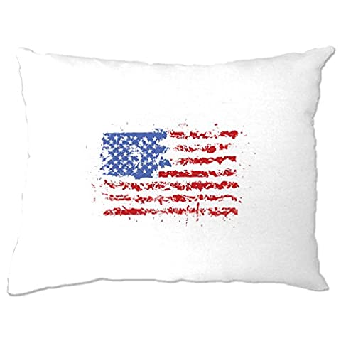 American Flag Paint Splat USA Stars Stripes America Print Design Cool U.S.A And Go Printed Logo Military Patriot Veteran School College Splatter Pillow Case Bedroom Cool Birthday Gift