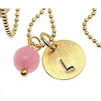 Kette mit Anhänger Gravur edel matt vergoldet Plättchen Scheibe Plakette gestempelt Jade rosa Namenskette Plättchenschmuck Farbe: Gold