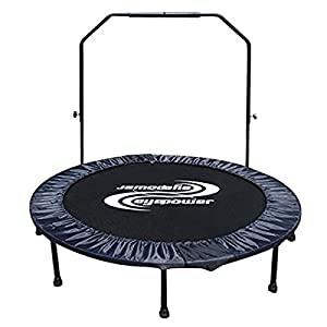 EYEPOWER faltbares Ø 130 cm Trampolin inkl. abnehmbarem Haltegriff Indoor Outdoor Fitness-Trampolin 120 kg Schwarz