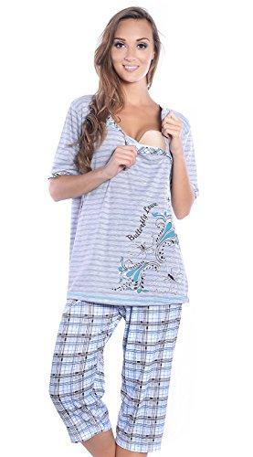 Mija - 3 in 1 Stillpyjama / Stillschlafanzug / Umstandspyjama / Pyjama 2070 (EU42 / XL, Grau / Turkis)