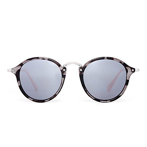 JIM HALO Retro Polarisiert Runden Sonnenbrille Klein Spiegel Getönt Kreis Linse Damen Herren(Graue Schildkröte/Polarisiertes Silber)