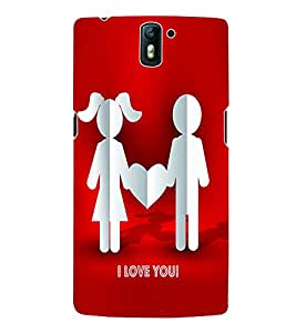Fuson 3D Printed Valentine I Love You Couple Designer Back Case Cover for OnePlus One - D592