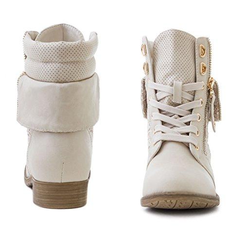 Bottines pour femme bottines biker cuir bottes de dentelle Beige SB