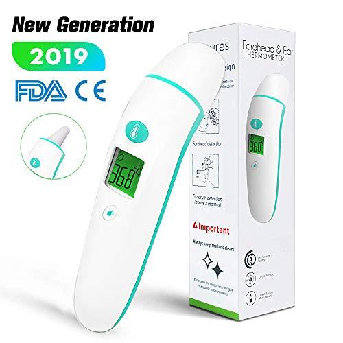 [Neue Generation] Stirnthermometer Ohrthermometer, digitale medizinisches 5-in-1, Infrarot-Fieberthermometer mit einem Algorithmus für beste Genauigkeit, geeignet für Babys, Kleinkinder und Erwachsene