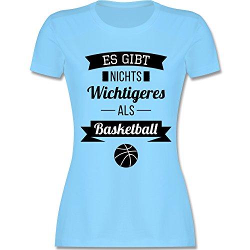 Shirtracer Basketball - ES Gibt Nichts Wichtigeres Als Basketball - Damen T-Shirt Rundhals Hellblau