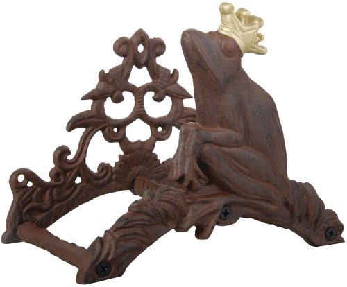 Schlauchhalter aus Guss Motiv Frosch 067, Wandschlauchhalter, Gusseisen, Landhaus Stil, ca. 20,5x25x16 cm