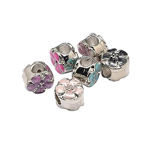 PandaHall - Lot de 5 Breloque Perles Europeennes Charme Bracele Pendentif Collier Round Flat avec Fleur Couleurs Melangees 12x9mm Trou: 4.5mm