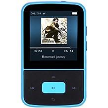 AGPTek G05- Mini clip lettore MP3 8 GB schermo TFT 1,5 pollici con Radio FM, Blu