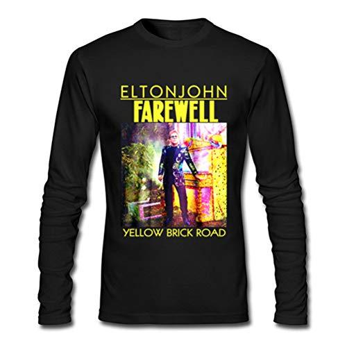 Elton John Farewell Yellow Brick Road for Man Black T-Shirt Long Sleeve Size L