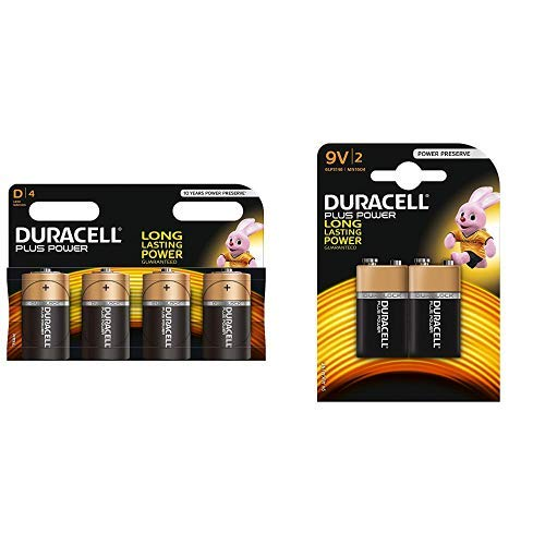 Duracell Plus Power Typ D Alkaline Batterien, 4er Pack & yp 9V Alkaline Batterien, 2er Pack