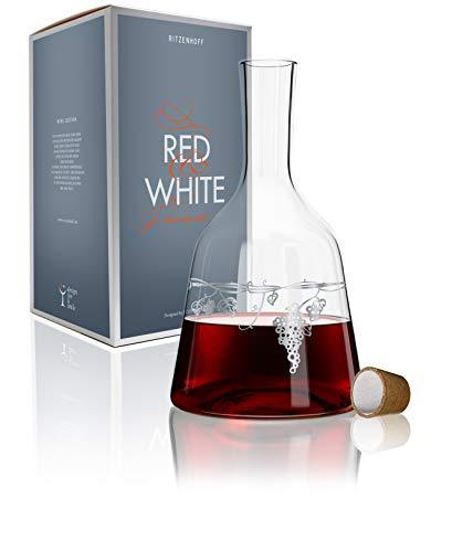 Ritzenhoff 3280003 Red & White Weinkaraffe Glas, 15 x 15 x 26,7 cm, Mehrfarbig
