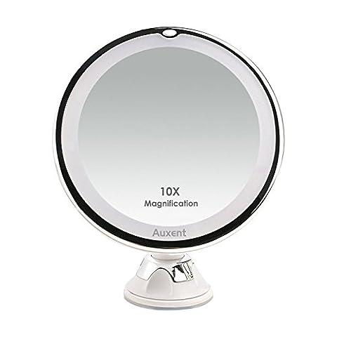Auxent Kosmetikspiegel LED Beleuchtet mit 10x Vergrößerung und Saugnapf, 360° Schwenkbar, Make-Up-Spiegel Schminkspiegel mit Blendfreier Beleuchtung für Zuhause und