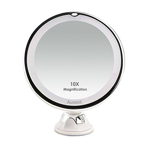 Auxent Kosmetikspiegel LED Beleuchtet mit 10x Vergrößerung und Saugnapf, 360° Schwenkbar, Make-Up-Spiegel Schminkspiegel mit Blendfreier Beleuchtung für Zuhause und Unterwegs