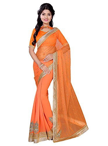 Kalish Women'S Orange Color Net & Georgette Embroidered Saree With Blouse Piece  available at amazon for Rs.1858