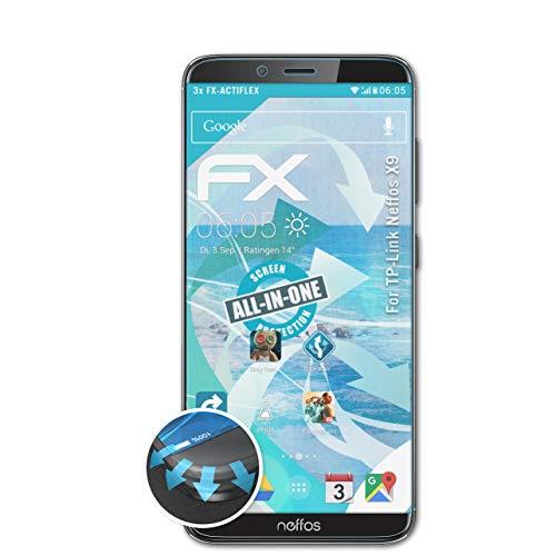 atFolix Schutzfolie passend für TP-Link Neffos X9 Folie, ultraklare & Flexible FX Bildschirmschutzfolie (3X)