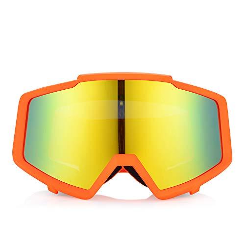 Qnlly Mens Womans Ski Snowboard Brille UV Anti Fog Outdoor Schneebrille Sking Racing ATV Brille,Orange -