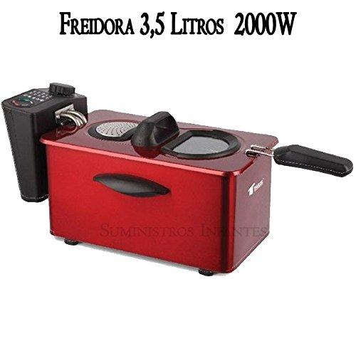 Freidora eléctrica 3 litros. Potencia 2000W. Interior con recubrimiento antiadherente. Capacidad para alimentos 800-900 gr. Precioso diseño color rojo. Resistencia e interior desmontable.