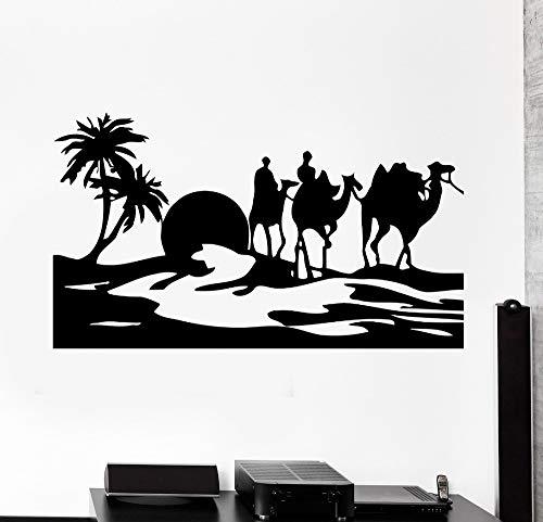 zzlfn3lv Kamel Wüste Oase Mirage Home Art Wandaufkleber Vinyl Wandtattoos Wohnzimmer mit Wandmalereien 57x99cm verziert -