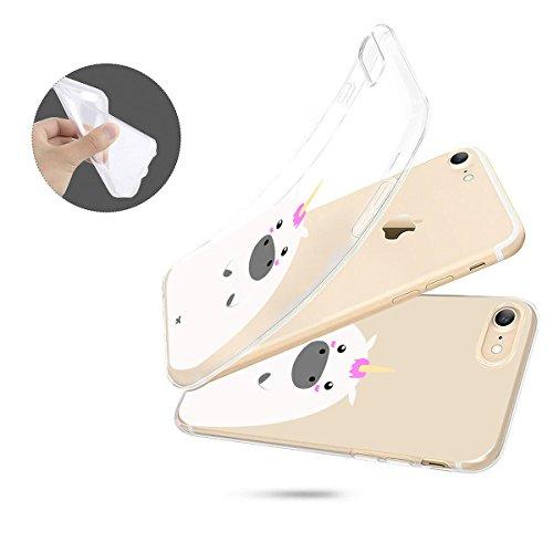 finoo | iPhone 6 / 6S Weiche flexible Silikon-Handy-Hülle | Transparente TPU Cover Schale mit Motiv | Tasche Case Etui mit Ultra Slim Rundum-schutz | Einhorn klein 1 Dickes Einhorn