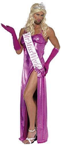 Smiffys, Herren Mister Miss World Kostüm, Kleid, Handschuhe und Schärpe, Größe: M, - Ausgefallene Kleider Kostüm