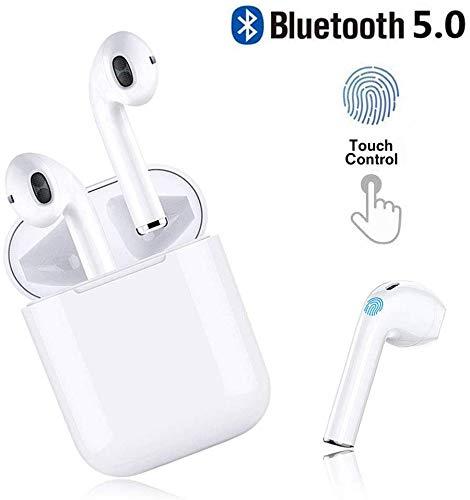 Auricolare bluetooth 5.0, auricolare wireless, microfono e scatola di ricarica incorporati incorporati, riduzione del rumore stereo 3d hd, per cuffie apple airpods android/iphone/samsung