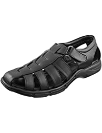 Marshal Men's Black Synthetic Leather Big Size Stylish Casual Sandals