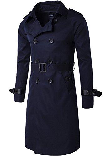 Herren Mantel Trenchcoat Frühling Herbst Mäntel Freizeitjacke Windjacke Jacken Oberbekleidung Trenchcoat Dunkelblau