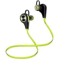 Auriculares Deportivos, Tevina Auriculares Inalámbricos Hi-Fi Bluetooth 4.1 Deportivos In-ear con Micrófono Sonido Estéreo Manos Libres para iPhone, Huawei, Samsung, Sony, BQ, LG etc (Verde y Negro)