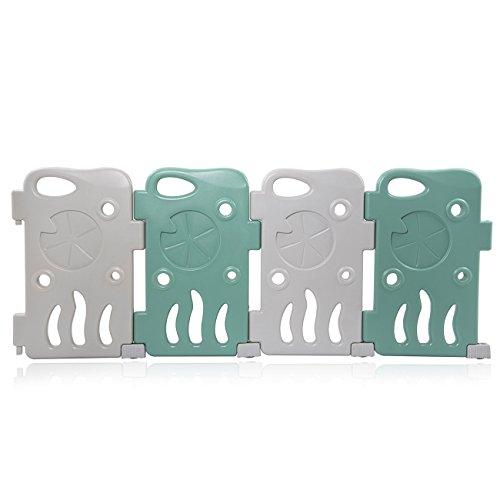 Baby Vivo Laufgitter Laufstall Zusatzpaket Baby Absperrgitter Krabbelgitter Schutzgitter für Kinder aus Kunststoff mit Tür und Spielzeug - Fridolin - 4 Elemente