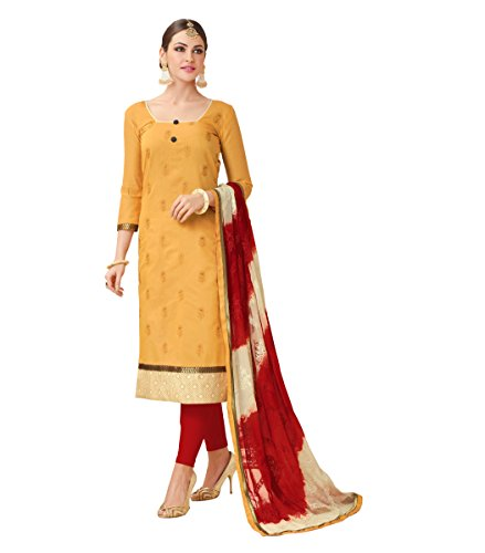 EthnicJunction Women\'s Heavy Chanderi With Heavy Embroidery Dress Material (EJ1165-1010_Yellow Orange Color)