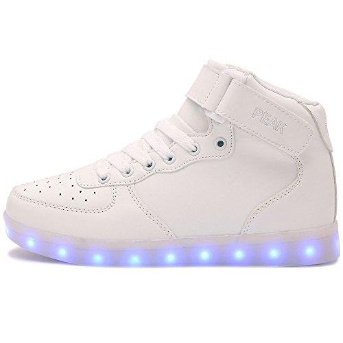 PEAK Sportschuhe Kinder USB Aufladen 7 Lichtfarbe LED Leuchtend Sport Schuhe Sneaker Hoch-Spitze Weiß