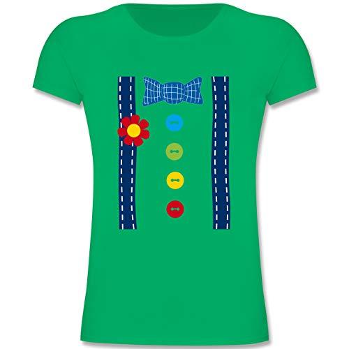 Kostüm Süße Clown Kinder - Karneval & Fasching Kinder - Clown Kostüm blau - 116 (5-6 Jahre) - Grün - F131K - Mädchen Kinder T-Shirt