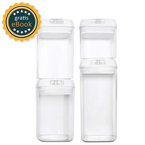 BASIL | Vakuum Vorratsdosen Set & Frischhaltedosen | 4er-Set | BPA frei & spülmaschinengeeignet | luftdicht & wasserdicht | Aufbewahrungsdose & Vorratsbehälter mit Beschriftungsetikett