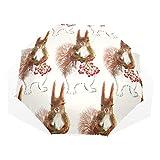 GUKENQ Regenschirm mit Eichhörnchen, Kirschmalerei, Reiseschirm, leicht, UV-Schutz, Sonnenschirm für Herren, Frauen und Kinder, Winddicht, faltbar, kompakt