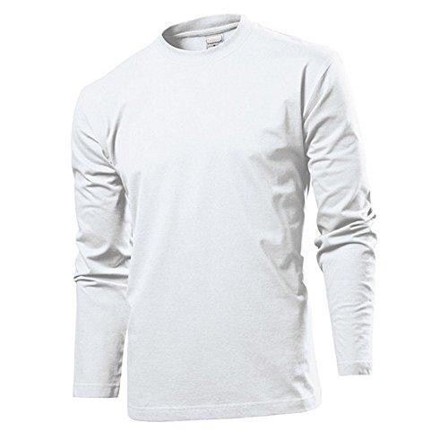 White Herren Shirt (Langarm T-shirt Shirt von Stedman S M L XL XXL XXL verschiedene Farben S,White)