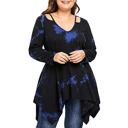VEMOW Plus Size Fashion Sommer Herbst Lady Lace Damen Langarm T-Shirt Casual Top Bluse(Z1-Blau, EU-42/CN-L)