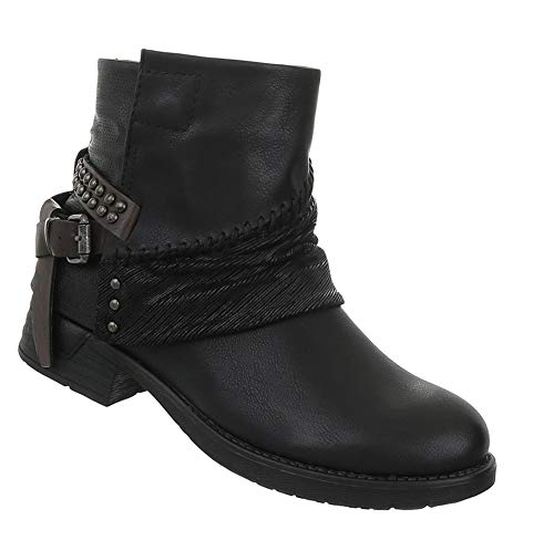 Damen Stiefeletten Flache Rocker Booties sportliche Stiefel Schuhe Nieten Schwarz ()