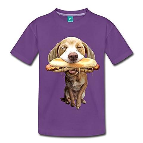 Chien Drôle Mange Un Hot-Dog T-shirt Premium Enfant de Spreadshirt®, 98/104 (2 ans), violet