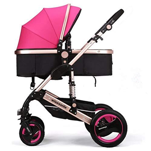 YXJ Hohe Landschaft Neugeborenes Kombikinderwagen Kinderwagen Kann Sich hinsetzen hinlegen Fold Shock Avoidance Vier Runden Zwei-Wege-Implementierung Vier Jahreszeiten verfügbar für 0-3 Kinder,Pink
