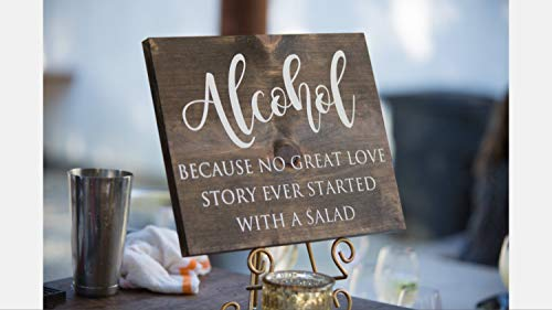 C-US-lmf379581 Alcohol Because No Great Love Story Every Started with A Salad Wedding Bar Sign Wood Bar Sign Rustic Bar Sign