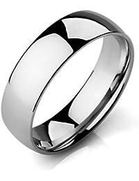 MunkiMix Ancho 6mm Acero Inoxidable Banda Venda Anillo Ring El Tono De Plata Alianzas Boda Hombre,Mujer
