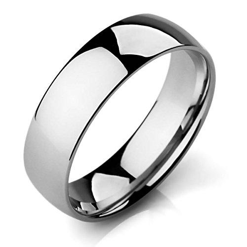 MunkiMix Ancho 6mm Acero Inoxidable Banda Venda Anillo Ring El Tono De Plata Alianzas Boda Talla Tamaño 20 Hombre,Mujer