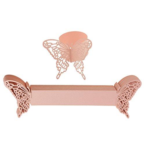LOVIVER 50pcs Schmetterling Papier Serviette Ringe Halter Partei Geschirr Dekor - Rosa, 21 x 6.5cm