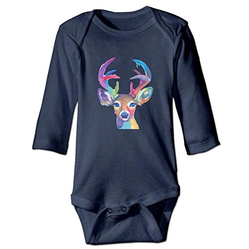 WBinHua Bodysuits Baby Body, Bertha Watercolor Deer Cute Baby Toddler Long Sleeve Onesies Bodysuits - Sammlung Bodysuit