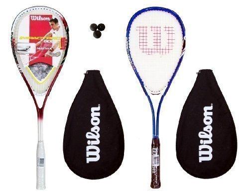 Wilson Lot de 2 raquettes de Squash 3 balles RRP £ 90 (1 rouge/blanc 1 &Bleu/blanc)