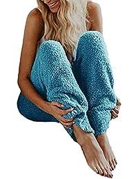 Junkai Pijamas de Las Mujeres Pjs Bottoms Ladies Fuzzy Fleece Acogedor Homewear Ropa de Dormir Ropa