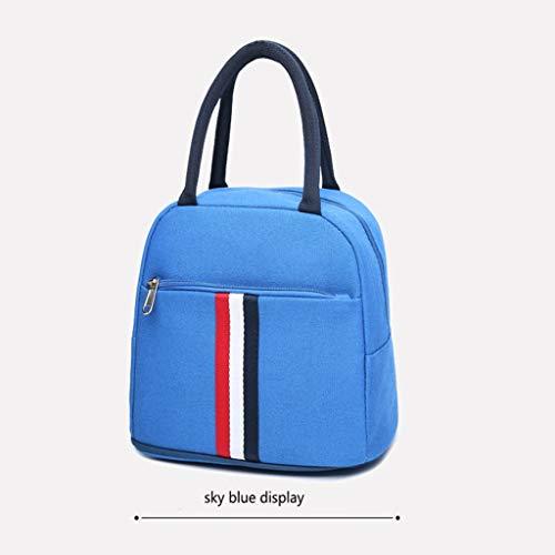sche, umweltfreundliche wasserdichte Lunchbag, tragbare Lunchbox, Obst-Canvas-Tasche, geeignet für Büroangestellte, Studentenparty, Familienessen (Color : Sky Blue) ()