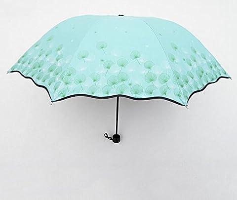 Sucastle 8 bone, vinyl, lotus, wave edge, triple, sunny rain, umbrella, creative, outdoor, sunscreen, folding, umbrella Sucastle:Colour:Light blue:size:Curvature; 110cm :; handle length